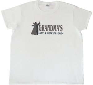 Grandma's Got A New Friend Womens/White/SS/Silver/Black Logo